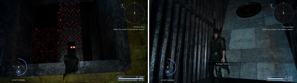 Wait until the spinning wheel thing stops before jumping down between the spikes (left). After the iron ball moves, you can pick up another Magic Flask (right).