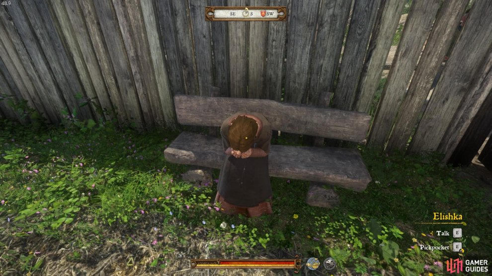You will find Elishka, the weeping woman, sat on a bench on the north side of the executioner's house.