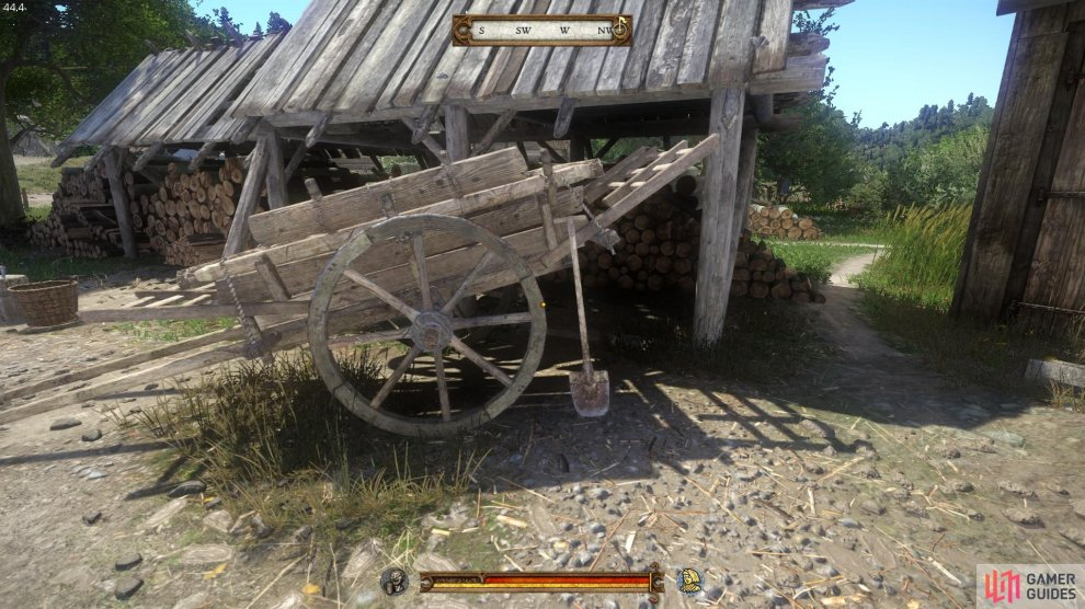 You will find the spade resting on the cart in the grounds of the Rattay Mill.