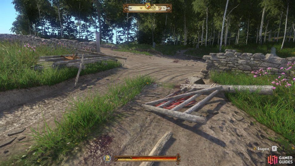 Inspect the broken fence to ensure that you complete all of the optional objectives before heading into the woods.