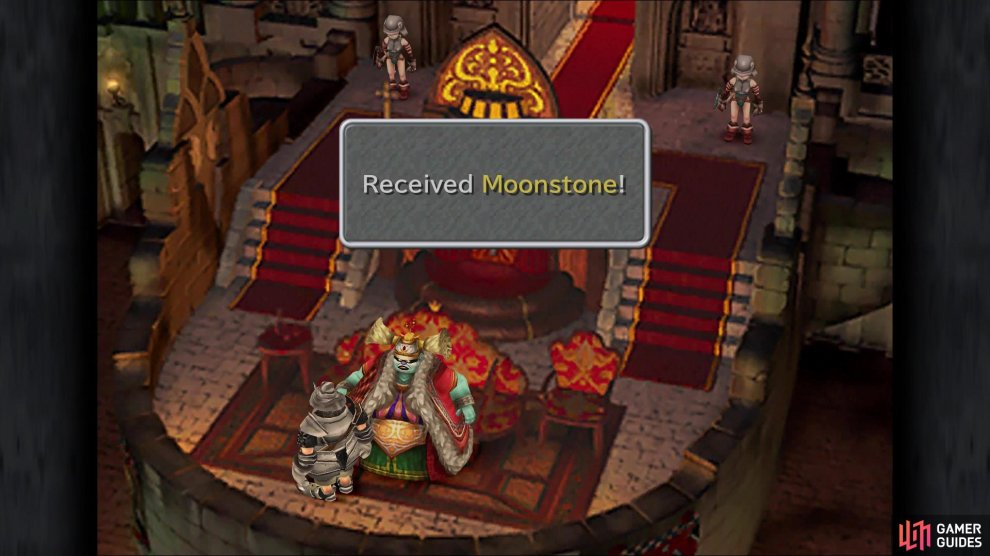 Don't forget to speak with Brahne when you gain control of Steiner at first to get the Moonstone you got for impressing 100 Nobles